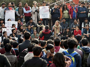 Protests at JNU. PTI