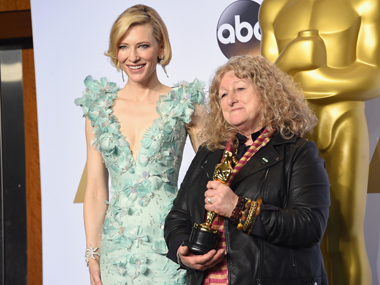 Mad Max: Fury Road wins most awards of the night with six Oscars; Jenny Beaven with her Oscar for Best Costume Design. Getty Images