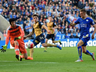 Arsenal is five points behind Leicester City in the Premier League. Getty