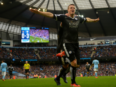 Leicester City's Robert Huth celebrates his goal against Manchester City. Getty