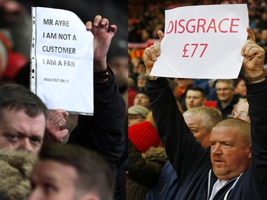 Liverpool fans protested £77 tickets in the Premier League game against Sunderland. AFP