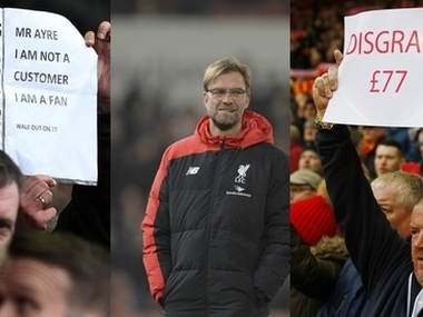 Liverpool fans protested expensive tickets and staged a walkout against Sunderland. AFP