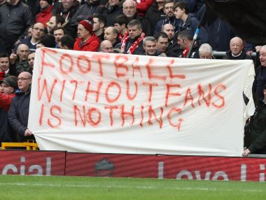 Liverpool fans protest ticket price rise. AFP