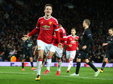Ander Herrera of Manchester United celebrates scoring his team's fourth goal. Getty Images