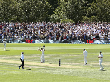 Brendon McCullum celebrates after reaching his century, off just 54 balls. Getty