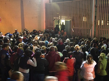 Relatives of inmates gather outside the Topo Chico prison in the northern city of Monterrey in Mexico where according to local media at least 30 people died in a prison riot. AFP
