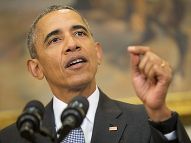 President Barack Obama speaks in the Roosevelt Room of the White House on Tuesday. AP