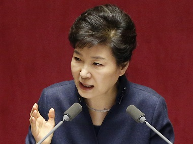 South Korean President Park Geun-hye delivers a speech at the National Assembly in Seoul on Tuesday. AP