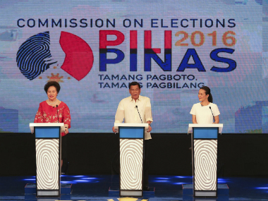 Senator Grace Poe (extreme right) is currently leading the Philippines Presidential race. AP