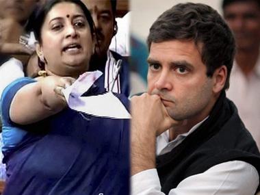 Smriti Irani and Rahul Gandhi. PTI