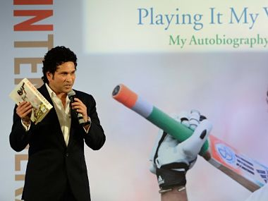"""Sachin Tendulkar at the launch of his autobiography """"Playing It My Way"""". AFP"""