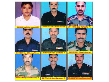 Indian Army soldiers who lost their lives during a deadly avalanche in Siachen Glacier. Image courtesy Indian Army