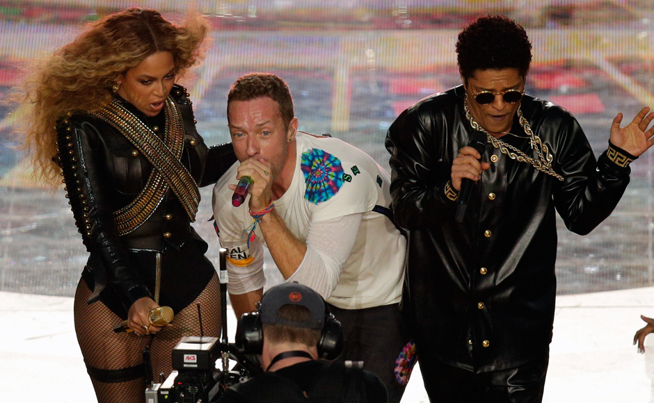 When was the last time you saw Beyonce, Chris Martin and Bruno Mars on one stage? Halftime at the NFL Super Bowl 50 football game on Sunday, Feb 7, 2016, in Santa Clara, California. (AP Photo/Charlie Riedel)
