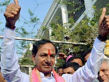 TRS leader K Chandrashekar Rao celebrates the win in Hyderabad Civic Polls.