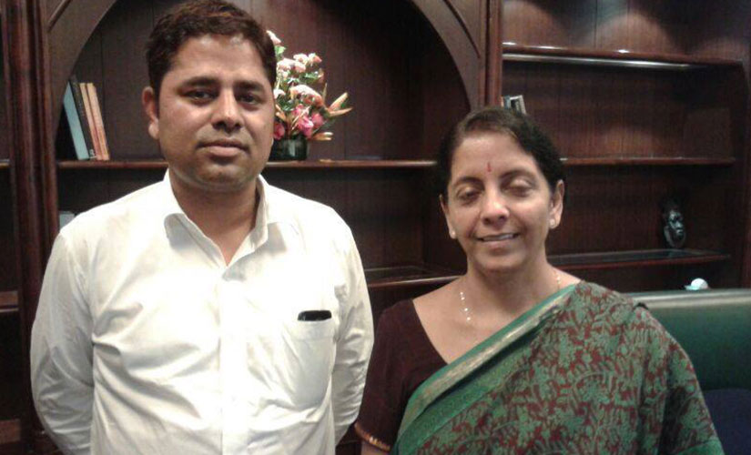 Chauhan with Nirmala Sitharaman. Image courtesy: Vikram singh chauhan/Facebook