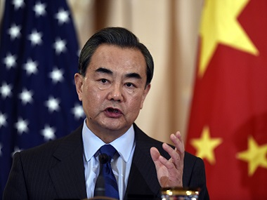 Chinese Foreign Minister Wang Yi speaks during a media interaction during his ongoing US visit. AP