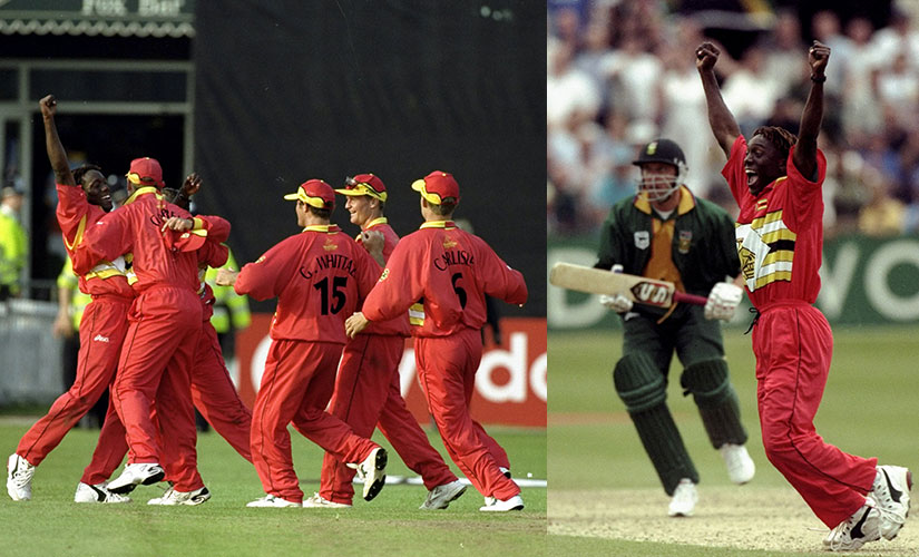(L) 19 May 1999: The Zimbabwe team congratulates Henry Olonga as they beat India during the Cricket World Cup Group A match played in Leicester, England. Zimbabwe won the game by 3 runs. (R) 29 May 1999: Henry Olonga of Zimbabwe takes the wicket of Allan Donald of South Africa to secure victory in the World Cup Group A game at Chelmsford in England. Zimbabwe won by 48 runs. Getty