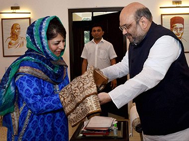 File image of Mehbooba Mufti with BJP president Amit Shah. PTI