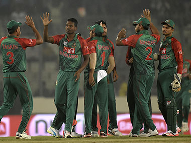 Bangladesh players celebrate the dismissal of UAE captain during the Asia Cup clash in Mirpur on Friday. AFP