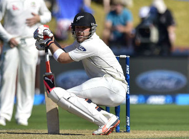 New Zealand skipper Brendon on Day 3 of first Test against Australia at Basin Reserve on Sunday. AFP