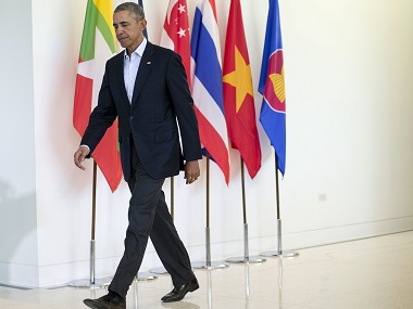 President Barack Obama walks to the stage to begin his news conference after the US-Asean Summit. AP