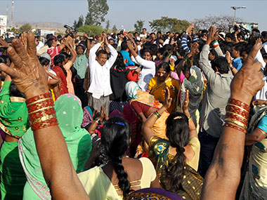 Protests at the Shani temple. Solaris images