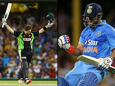 (L) Shane Watson celebrates after scoring a ton. (R) Suresh Raina celebrates after hitting the winning runs. Getty