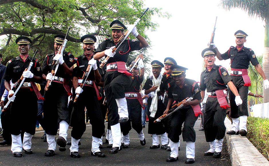 The Indian Army cadets of the Officers Training Academy celebrate after the passing out ceremony at the OTA grounds in Chennai, India on 12 March 2016. Solaris Images