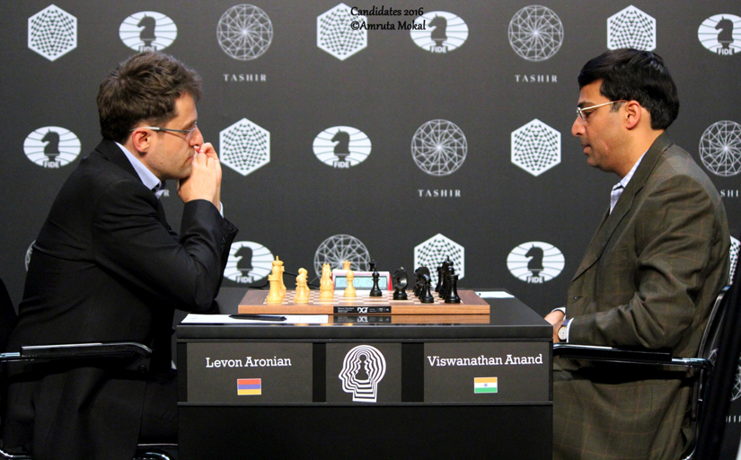 Viswanathan Anand (right) playing against Levon Aronian in Moscow on Saturday. Amruta Mokal