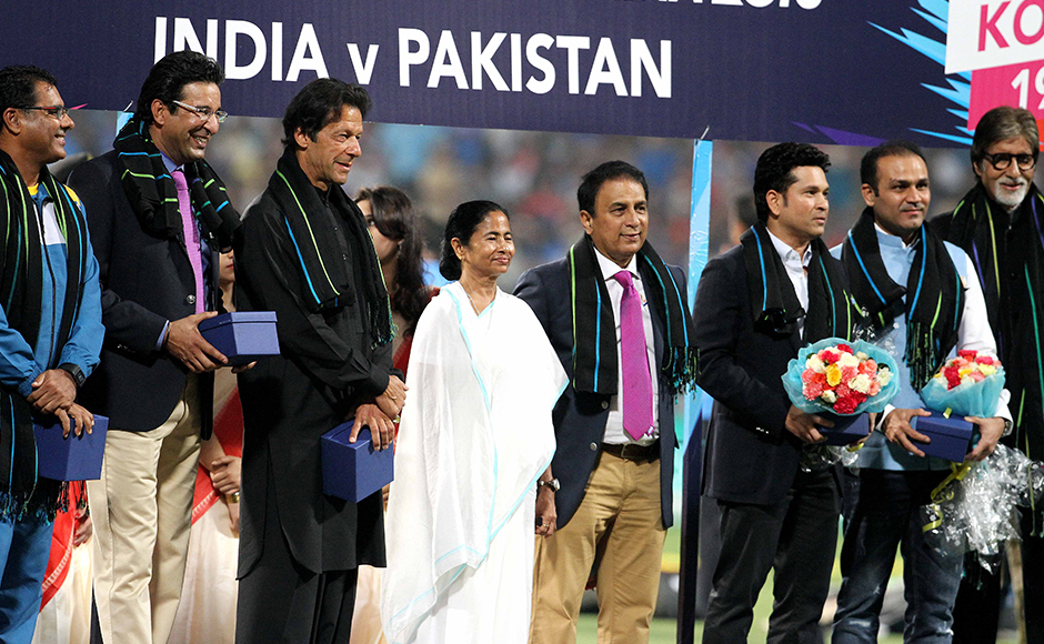 (L to R) Former Pakistan captain Waqar Younis, Wasim Akram, Imran Khan, West Bengal Chief Minister Mamta Banerjee, Indian former captains, Sachin Tendulkar, Sunil Gavaskar, player Virender Sehwag and Bollywood actor Amitabh Bachchan during the felicitation function organised before the start of the ICC Twenty20 World Cup match played between Indian and Pakistan at the Eden Garden Stadium in Kolkata, India on March 19, 2016. Getty Images