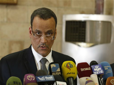 UN special envoy to Yemen, Ismail Ould Cheikh Ahmed speaks at a press conference in Sanaa, Yemen. AP