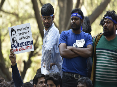 Students protest over Rohith Vemula's suicide, on 23 February 2016 in New Delhi, India.Getty Images