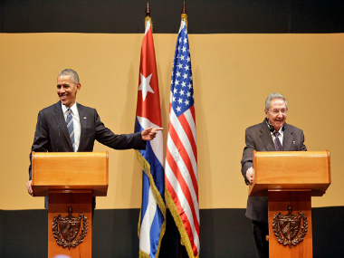 U.S. President Barack Obama and Cuban President Raul Castro hold a joint press conference at the Cuban State Council, on March 21, 2016 in Havana, Cuba. Getty Images