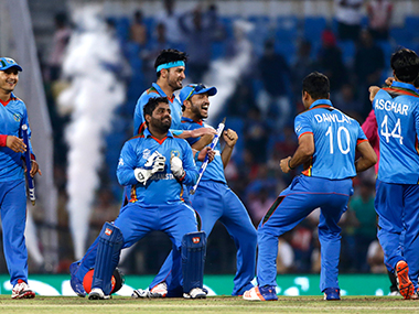 Afghanistan team celebrate their historic win.
