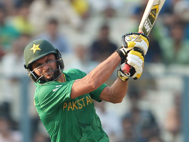Shahid Afridi during his 19-ball 49 against Bangladesh at Eden Gardens in Kolkata on Wednesday. AFP