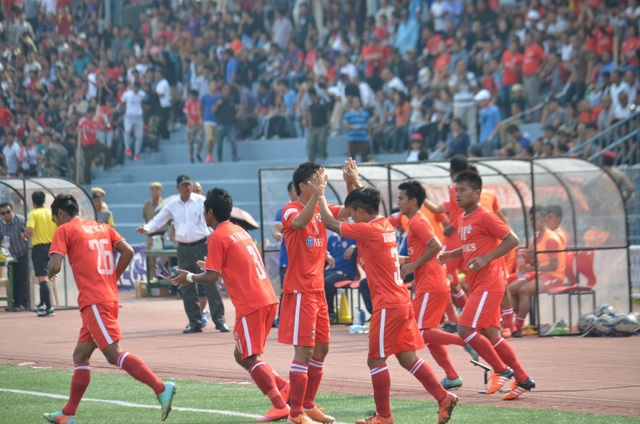 Aizawl FC celebrate their win over Mohun Bagan. Image courtesy: i-league.org