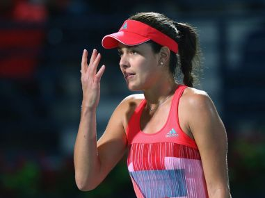 Ana Ivanovic of Serbia reacts during her match. Getty Images