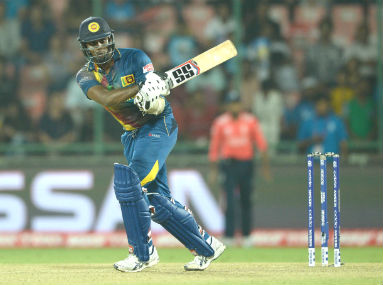 Sri Lanka captain Angelo Mathews during his valiant knock of 73 against England in Kotla on Saturday. Getty Images
