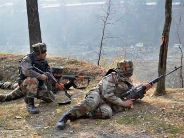File photo of Indian Army soldiers engaged in an encounter with militants. PTI