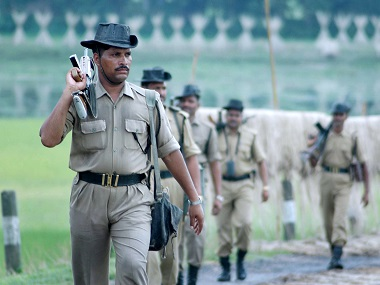 Indian Border Security Force (BSF) personal patrol the India-Bangladesh border in Sonaghat, Assam. File photo AFP