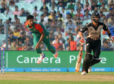 Bangladesh seamer Mustafizur Rahman during the World T20 match against New Zealand at the Eden Gardens in Kolkata on Saturday. Solaris Images