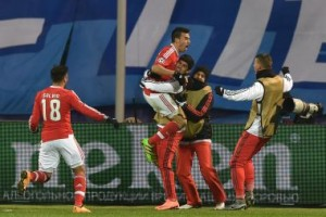 Benfica celebrate a late goal against Zenit St. Petersburg. AFP