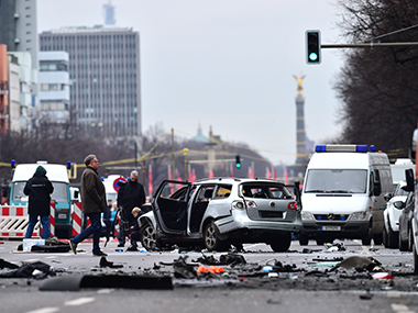 A scene from the car blast in Berlin. AFP