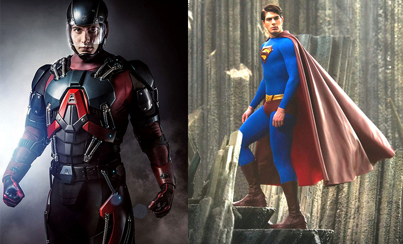 Brandon Routh as The Atom (L) and in Superman Returns (2006)