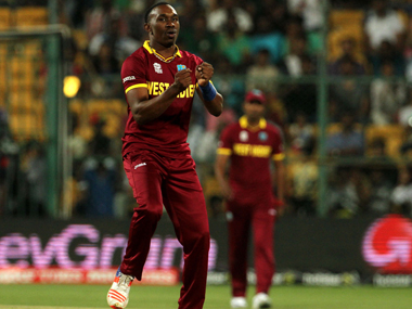 West Indies allrounder Dwayne Bravo celebrates the fall of a Sri Lankan wicket in Bengaluru on Sunday. Solaris Images