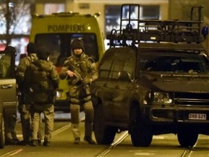 Special operations police take positions during a raid in Brussels. File image. AP