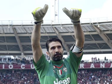 Juventus goalkeeper Gianluigi Buffon celebrates at the end of match between Torino and Juventus. AP