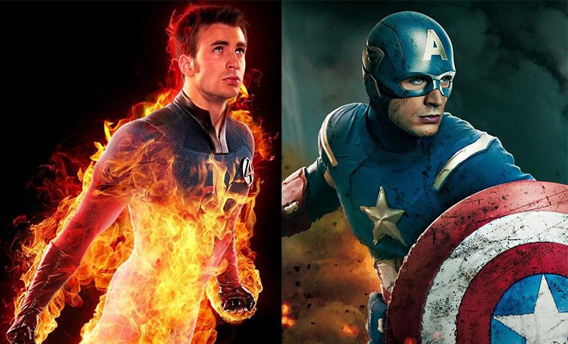 Chris Evans as The Human Torch and (R) as Captain America