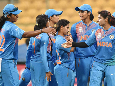 Indian women's cricket team celebrates the victory over Bangladesh at the Chinnaswamy Stadium in Bangalore on Tuesday. PTI