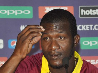 West Indies captain Darren Sammy addresses media representatives at a press conference ahead of the ICC World Twenty20. AFP